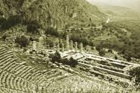 Temple of Apollo and Theatre, Delphi 1960 Yellow by Priscilla Turner