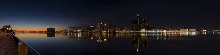 Detroit nighttime pano