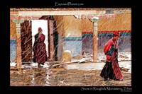 Nuns in a snowstorm in Rongbuk monastery, Tibet