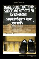 Stolen Shoes sign at Dharamsala, India