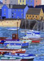 Tenby Harbour with Colourful Boats
