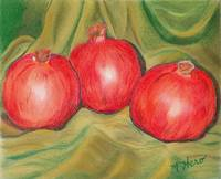 Pomegranites with Green Drapery