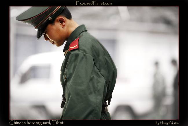Chinese borderguard at Tibetan border