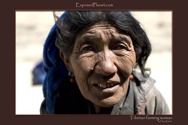 Tibetan farming woman close up