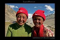 Globalisation: Swoosh Tibet, young girls Nike hats