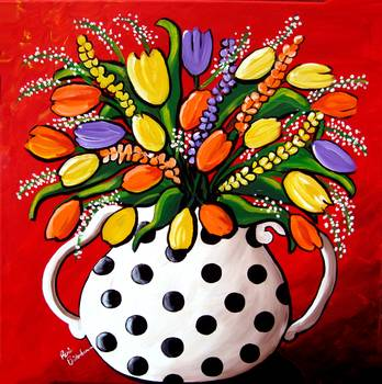 Tulips in Polka Dots by artist Renie Britenbucher. Giclee prints, art prints, posters, still life; floral, flowers; from an original  painting