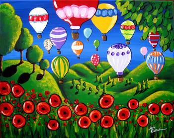 Hot Air Balloons and Poppies by artist Renie Britenbucher. Giclee prints, art prints, posters, a landscape with hot air balloons, rolling hills and red poppies; from an original  painting