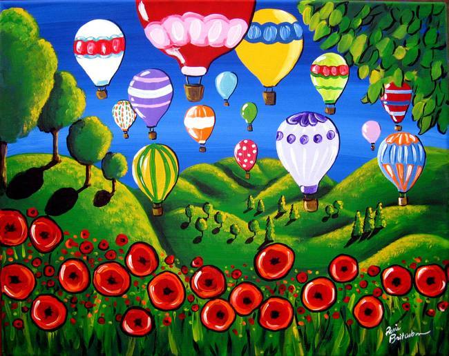 Hot Air Balloons and Poppies