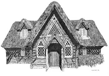 Stipple Pen And Ink Irish Cottage By Dulce Diane Clements