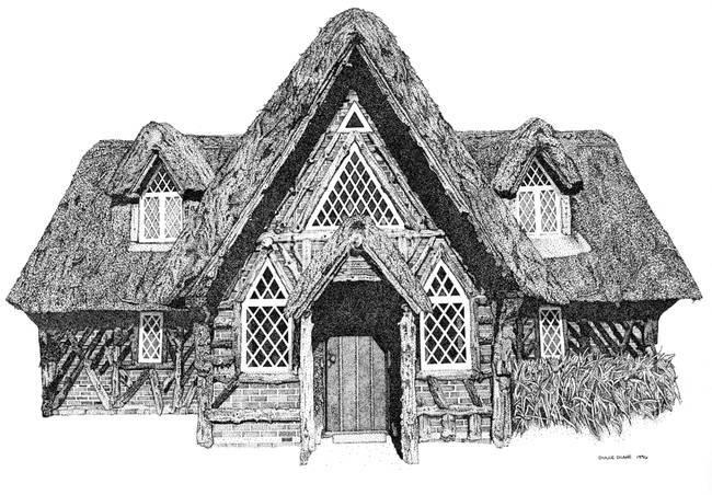 Stipple Pen And Ink Irish Cottage By DulceDiane 1996