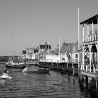 Nantucket harbor waterfront by George Riethof