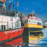 """Fireboat and Ferries in Portland, Maine"" by dominicwhite"