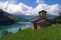 French church-and-lake
