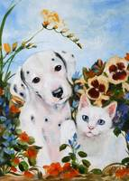 The Pansy Party- a Dalmatian Puppy, Kitten in Flow