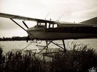 Alaska Float Plane Black and White