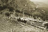 Temple of Apollo and Theatre, Delphi 1960Gold-tone by Priscilla Turner