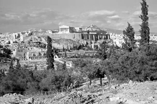 Athenian Acropolis from Philopappou Hill, 1960 B&W