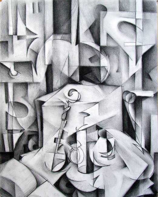 Cubist Still Life Drawing Study b185
