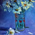 Juice Glass with Daisies
