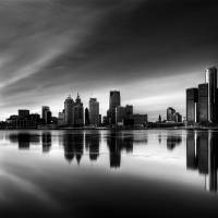 """Detroit Skyline HDR b;w2"" by RobTerwilliger"