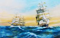 Dual Crossing Tall Ships at Sea