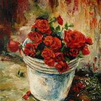 BUCKET OF ROSES - full of Love Art Prints & Posters by Poonam Southey