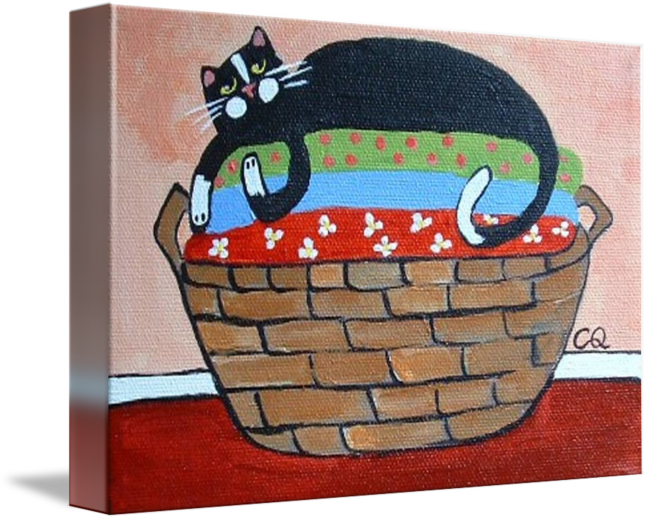 cat on laundry basket by christine quimby