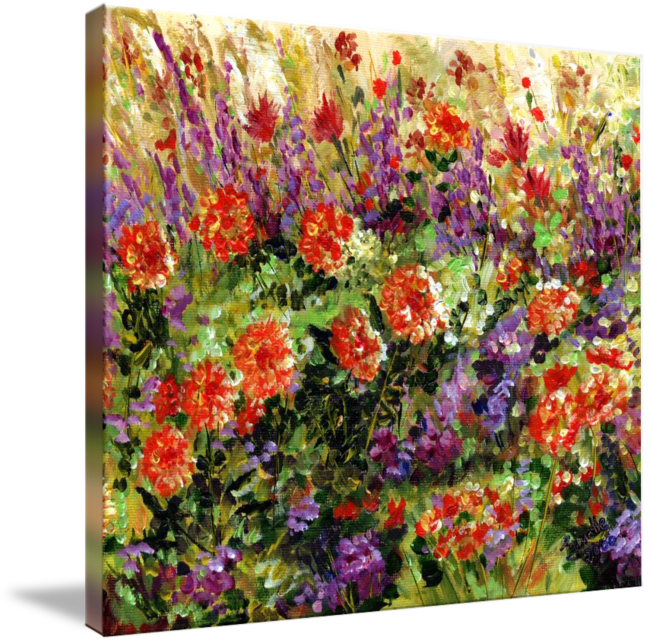 Bed of Flowers Impressionist painting by Ginette by Ginette Callaway (2000)