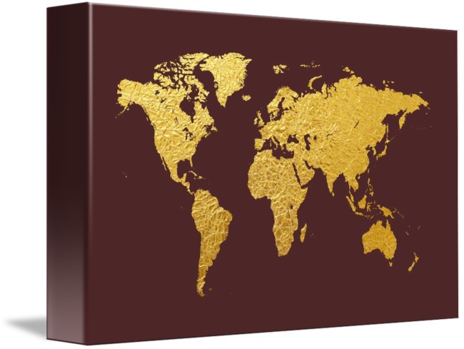 World map gold foil by michael tompsett gumiabroncs Gallery