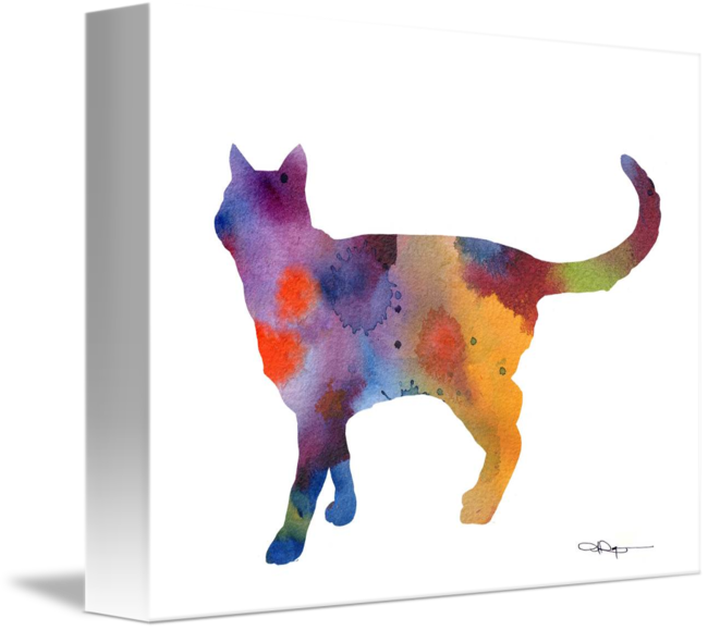 Cat Walking Abstract Watercolor Painting Art Print by Artist DJ Rogers