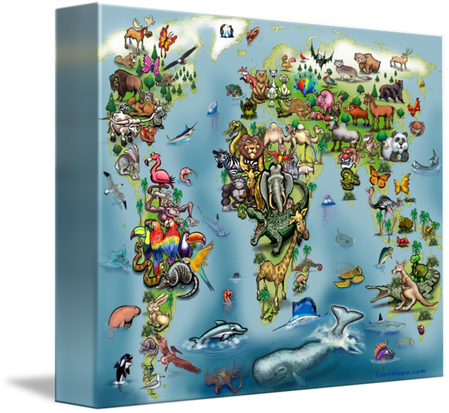 Animals world map poster by kevin middleton gumiabroncs Gallery