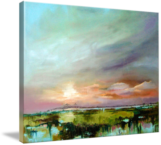 Salt Marsh Sunset Original Oil Painting By Ginette By