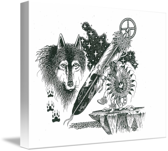 Pen Ink Native Wolf2 By Mario Hernandez By Tommy Youngblood