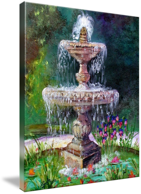 Fountain In French Garden Painting By Ginette By Ginette