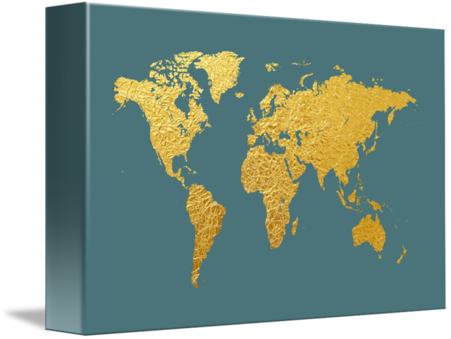 World map gold foil by michael tompsett gumiabroncs Choice Image