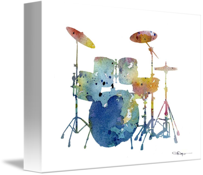 DRUMS Contemporary Watercolor Abstract DRUM SET ART Print by Artist DJR
