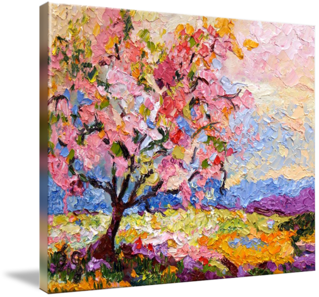 Pink Blossom Tree Oil Painting By Ginette Callaway By