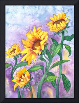 Sunny sunflowers Watercolor, Foxvox