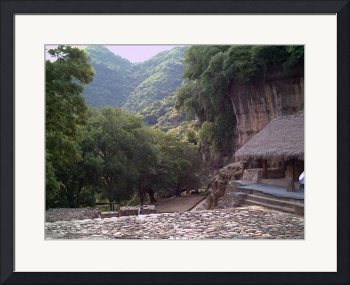 Malinalco Ruins with Mountain Peaks by Christopher Johnson