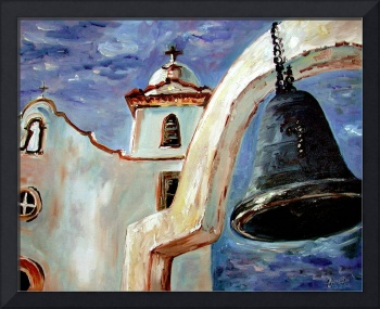 Spanish Mission Bell Oil Painting by Ginette Calla by Ginette Callaway