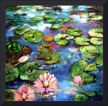 Lily Pond Reflections Original Painting by Ginette by Ginette Callaway