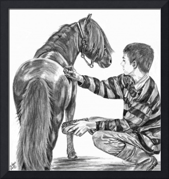 Miniature horse and Boy by Shari Nees