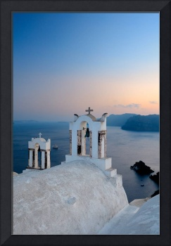 Oia's bell at sunset in Santorini, Greece by Francesco Carovillano