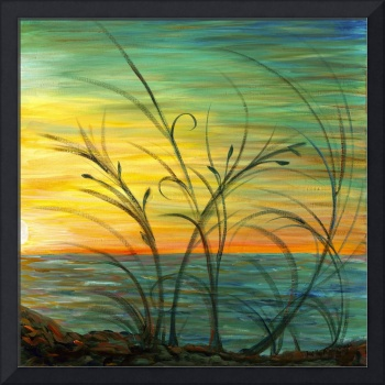 Sunset and Grasses in Blue by Nadine Rippelmeyer