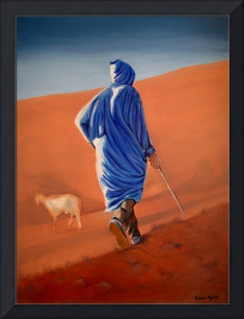 Acrylics on canvas size 1m x 77cm of lone Berber shepherd and sheep in the Atlas Mountains