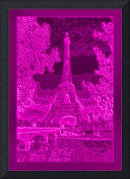Eiffel Tower Seine River Bridge Enhanced Pink Viol