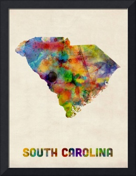 South Carolina Watercolor Map