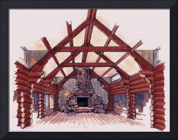 Great Room of a Log Home