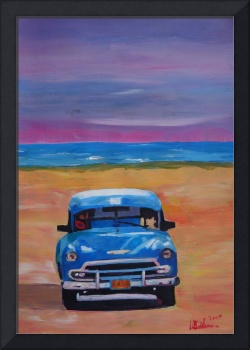 Magnificient Blue Oldtimer in Cuba at Beach