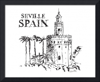 The Torre de Oro naval tower in Seville, Spain.